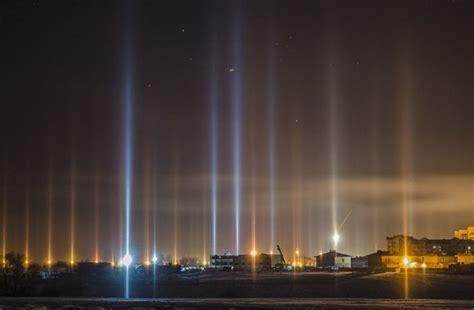 light pillars mysterious light pillars form columns of light beaming