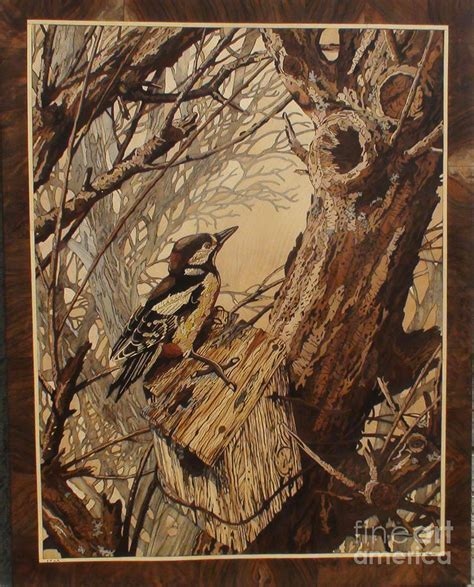inlay woodworking the bird and tree marquetry wood work sculpture by