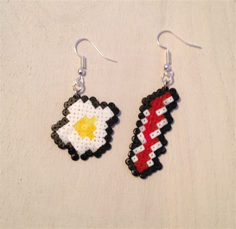 perler bead earrings egg and bacon breakfast perler bead earrings