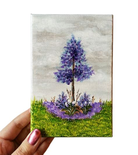 small acrylic painting ideas sale acrylic painting mini canvas purple 4 x 6 flowers
