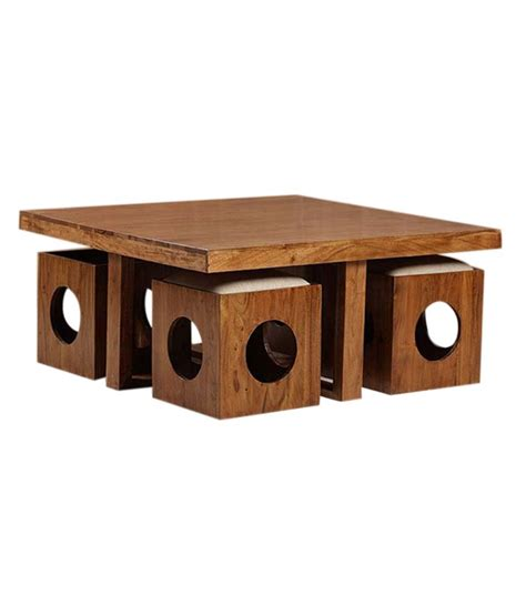 Solid Wood Table with 4 Stools   Buy Solid Wood Table with 4 Stools Online at Best Prices in