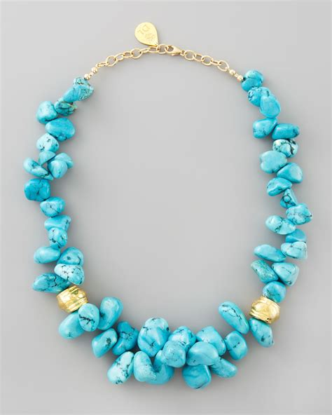 bead necklace leigh turquoise cluster beaded necklace in blue lyst