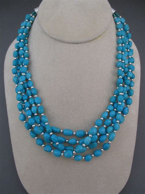 how to make turquoise jewelry yellowhorse 5 strand sleeping turquoise necklace