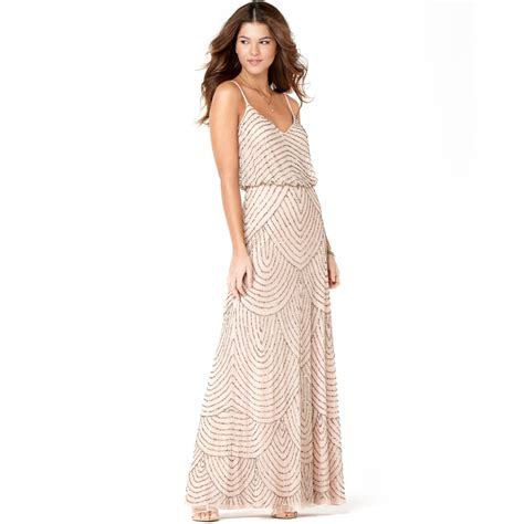 beaded blush dress papell spaghetti beaded blouson gown in
