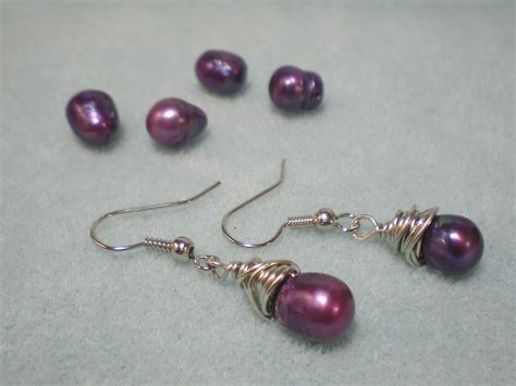 how to make wire wrapped jewelry wire wrapped purple pearl earrings tutorial