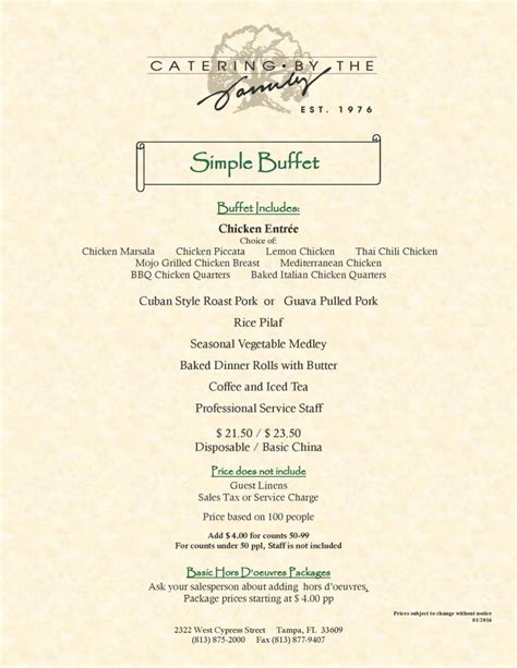 wedding buffets menus wedding menus simple buffet catering by the family