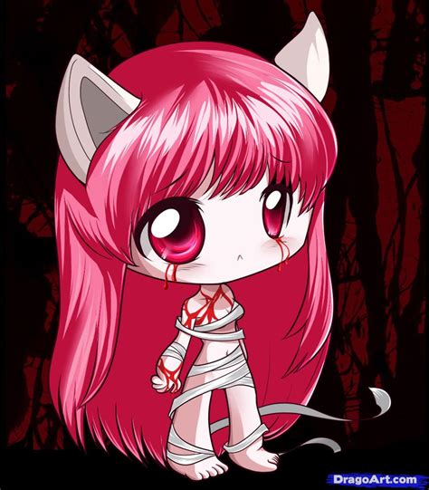 elfen lied how to draw chibi elfen lied step by step chibis draw