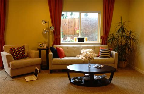 yellow living room living room yellow walls rumah minimalis