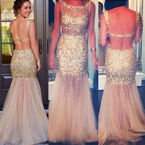 all beaded prom dresses chagne backless tulle prom dress all gold beaded