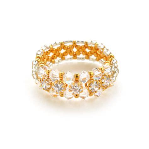 bead kits miyuki cubic zirconia gold line ring seed bead kit