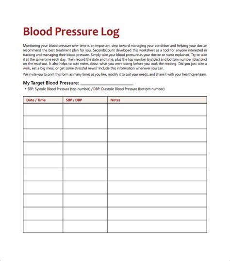 blood pressure log template 10 free word excel pdf