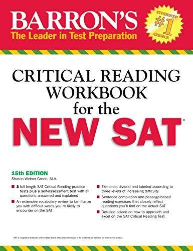 barron s math workbook for the new sat 6th edition barron s sat math workbook isbn 9781438005768 barron s critical reading workbook