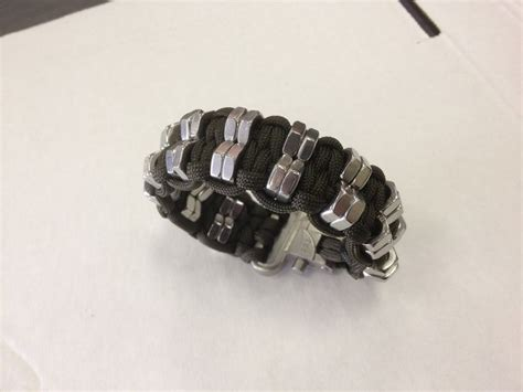 paracord bead knot black paracord bracelet with metal nuts my paracord