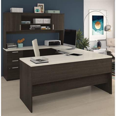 u shaped desk bestar ridgeley u shaped desk in chocolate and white