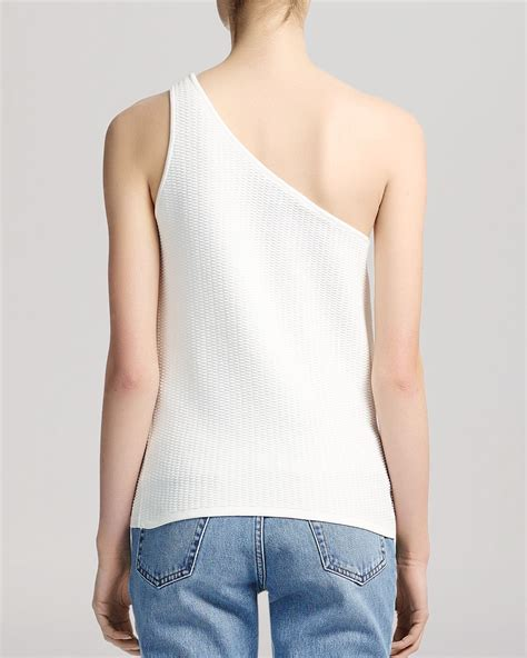 one shoulder knit top whistles top brava one shoulder knit in white lyst