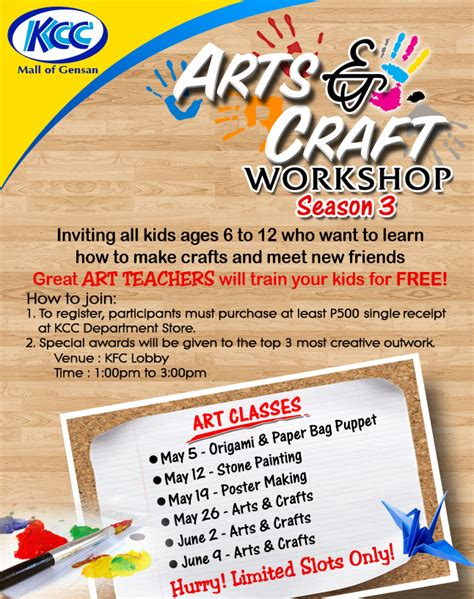 arts and crafts classes for kcc malls kid s workshop
