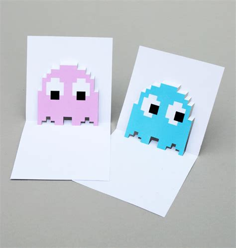 pop card pacman ghost popup cards minieco