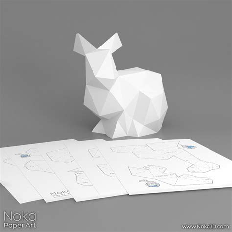 3d paper craft template bunny 3d papercraft model downloadable diy by