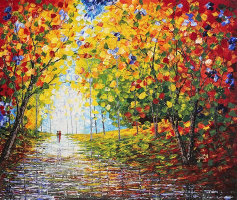 acrylic painting palette knife after autumn reflections acrylic palette knife