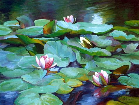 acrylic painting water lilies by saltiel february 2012