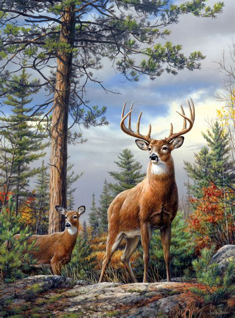 bob ross painting deer standing proud jigsaw puzzle puzzlewarehouse