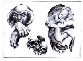 skull adn demon tattoo design img528 skulls demons flash