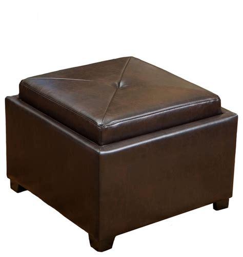 brown leather ottoman storage durban tray top storage brown leather ottoman coffee table