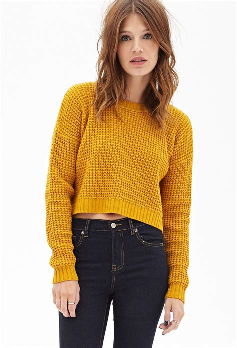 knitted sweaters forever 21 forever 21 cropped waffle knit sweater you ve been added