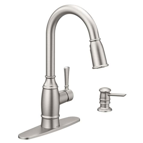 single handle kitchen faucet with sprayer moen noell single handle pull sprayer kitchen faucet