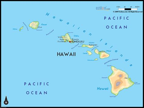 Geographical Map of Hawaii and Hawaii Geographical Maps