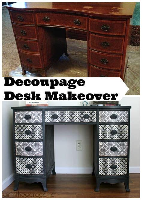 decoupage a desk decoupage desk makeover in the garage 174