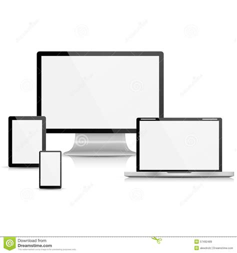 collection of realistic vector laptop tablet computer