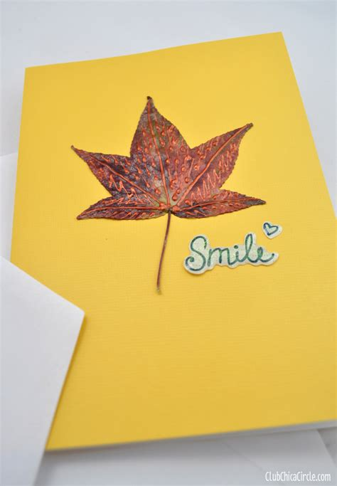 how to make photo note cards decorated fall leaf note cards craft idea club chica