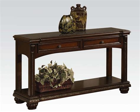 traditional sofa tables traditional sofa table in cherry anondale by acme