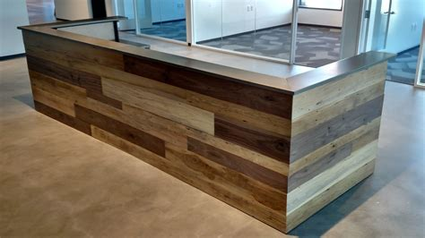 wooden reception desk made contemporary reclaimed wood and steel reception