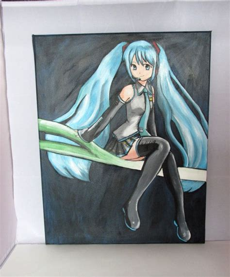 acrylic painting anime hatsune miku leek vocaloid anime painting 16 quot x 20