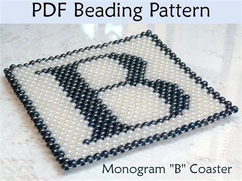 beading patterns pdf peyote monogram b coaster pdf beading pattern by