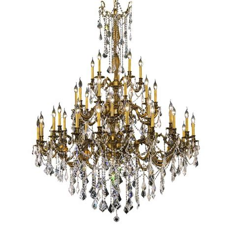 and gold chandelier lighting 45 light gold chandelier with clear el9245g54fg rc the home depot