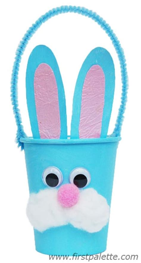 paper cup craft paper cup bunny basket craft crafts firstpalette