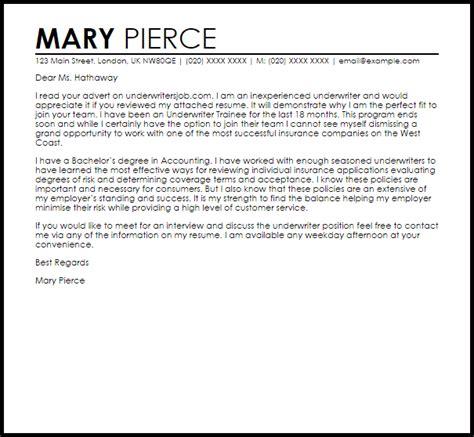 Free Sample Resume Cover Letters underwriter cover letter sample livecareer