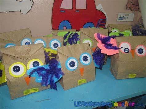 brown paper bag craft paper bag owl craft running