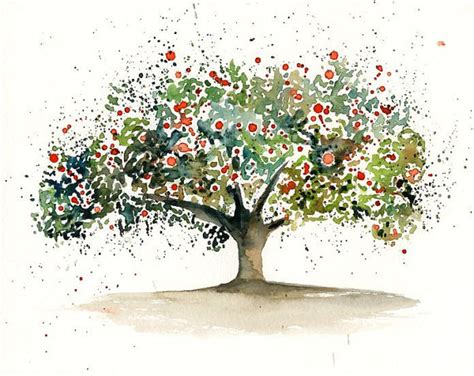 apple tree wall decor nature art original watercolor by ireart