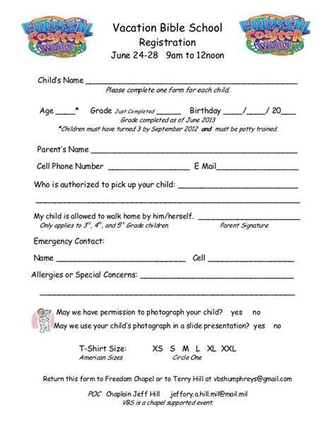 vbs registration form for camp humphrey s freedom chapel