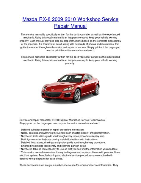 car repair manuals online pdf 2009 mazda rx 8 engine control mazda rx 8 2009 2010 repair service repair workshop manual by nissancarrepair issuu