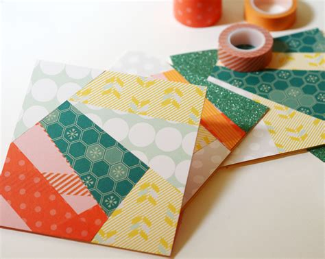 all free paper crafts funky washi cards allfreepapercrafts