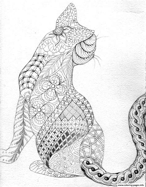 cat for adults difficult cat from back coloring pages printable