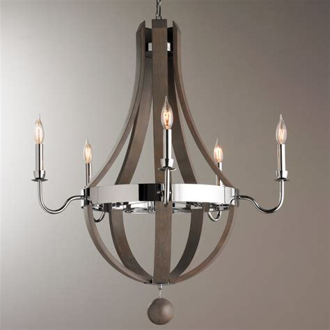 chrome chandelier wood and chrome barrel chandelier shades of light