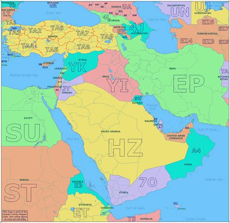 the east radio prefix map of the middle east