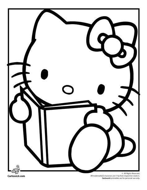 hello kitty black and white kids coloring