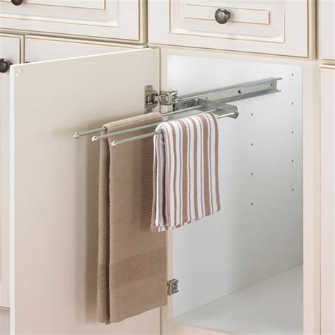 kitchen towel rack sink cabinet pull out towel bar chrome in kitchen towel holders